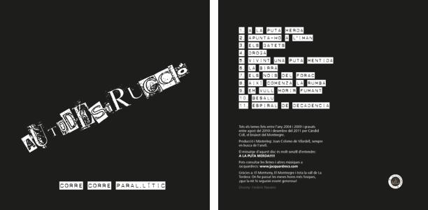 Portada y contraportada del disco de Autodestrucció. Design by Frederic Navarro